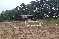 Robyn jumping Cosmo on the Arena at Devon Meadows